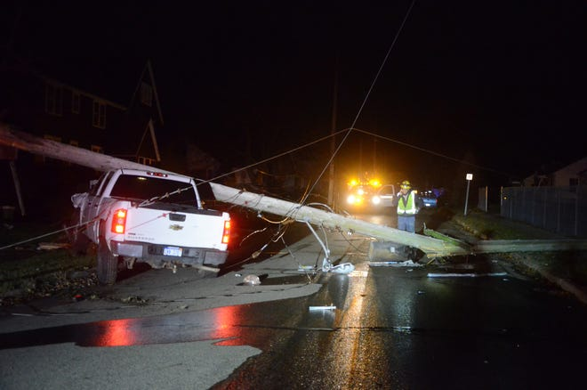 Crews from Consumers Energy were cutting power and replacing a utility pole after Battle Creek police said a pick-up truck hit the pole on Terrace Avenue. The driver was arrested on a charge of drunken driving.