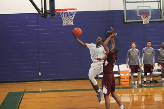 Jordan Gant beats a defender for an easy layup in a 109-107 overtime loss for Warren Wilson against Apprentice School on Nov. 25. Gant led the Owls with 31 points in the game.