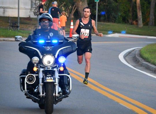 David Kilgore of Palm Bay in the lead. The 2018 Space Coast Marathon & Half Marathon was held Sunday, November 25, in Cocoa.