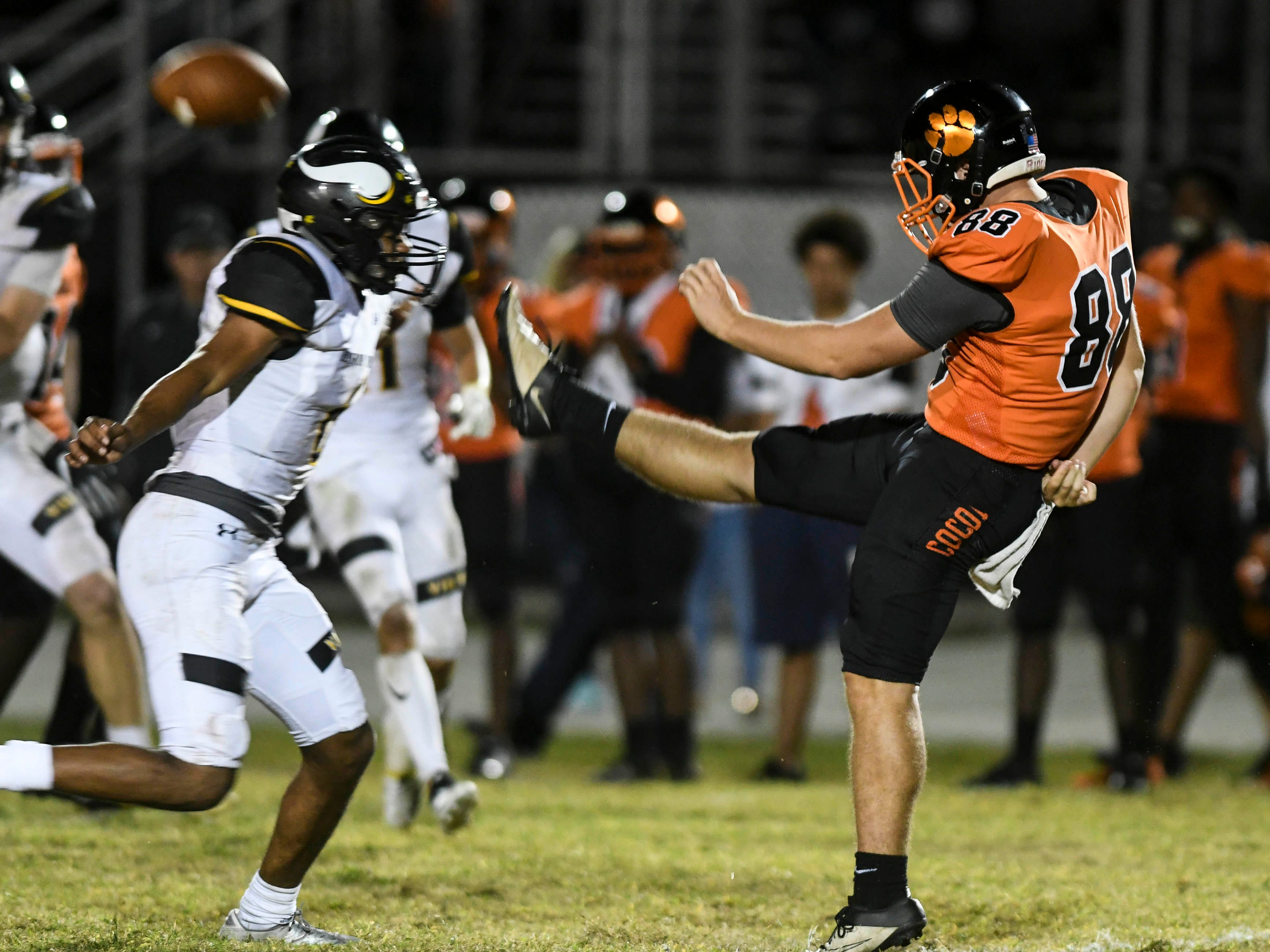 Cocoa's Alex Petruzzello punts the ball during Friday's game against Bishop Verot at Blake Stadium.