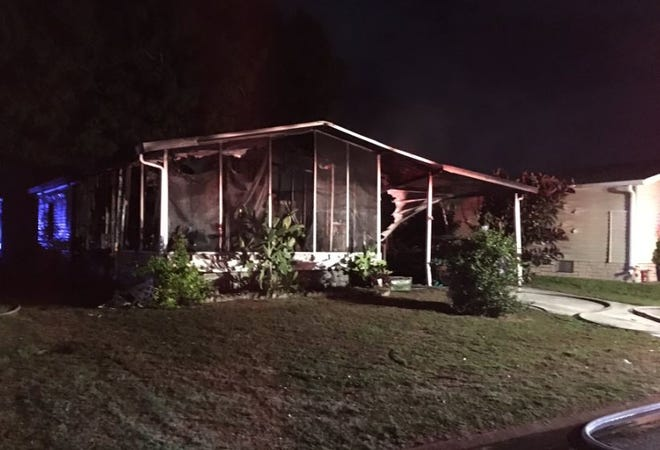 BCFR units still on scene of a manufactured home fire on Tamarind Cir in Barefoot Bay in Southern Brevard County. No injuries.