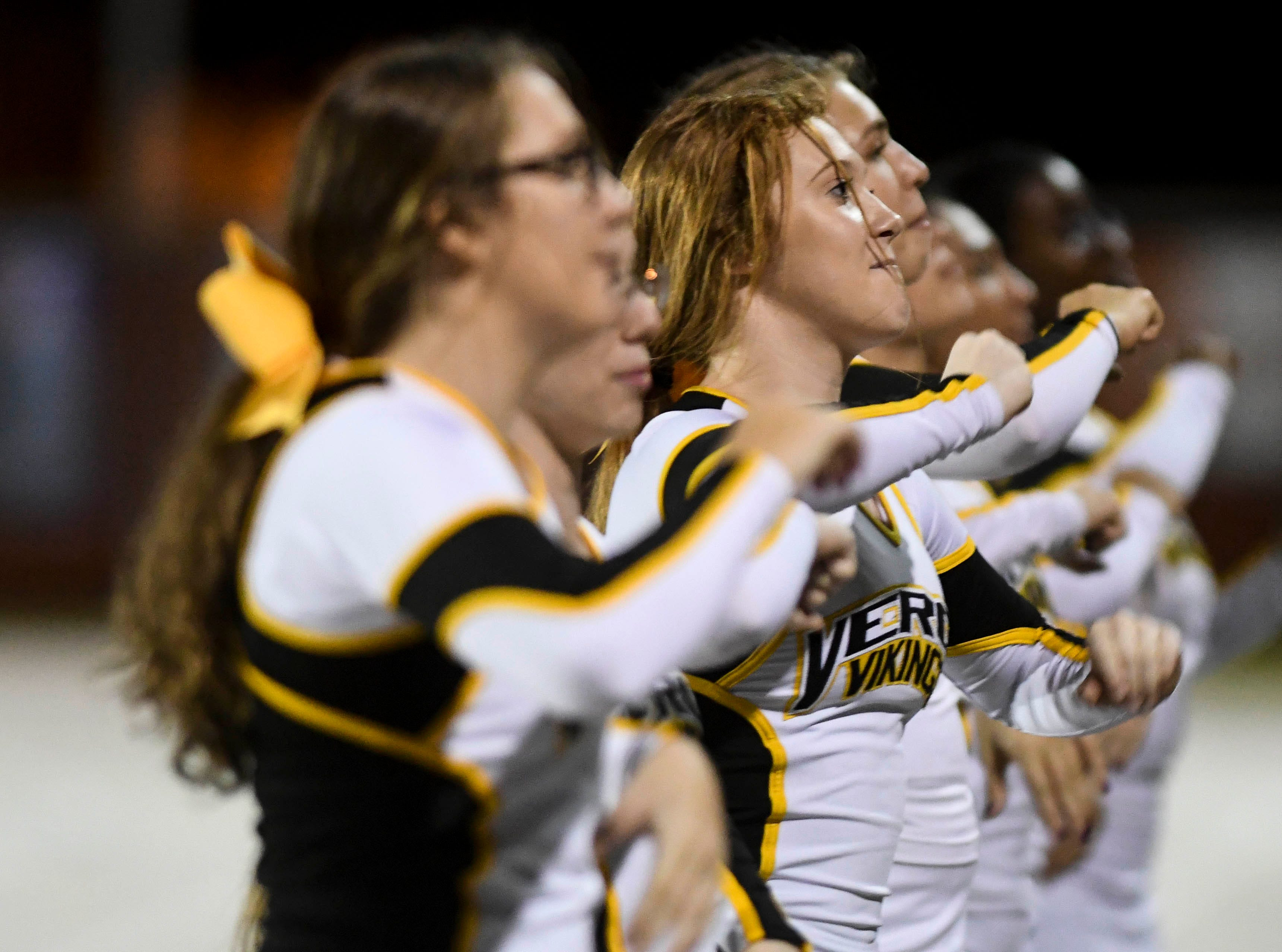 Bishop Verot cheerleaders root for the Vikings during Friday's football game against Cocoa.