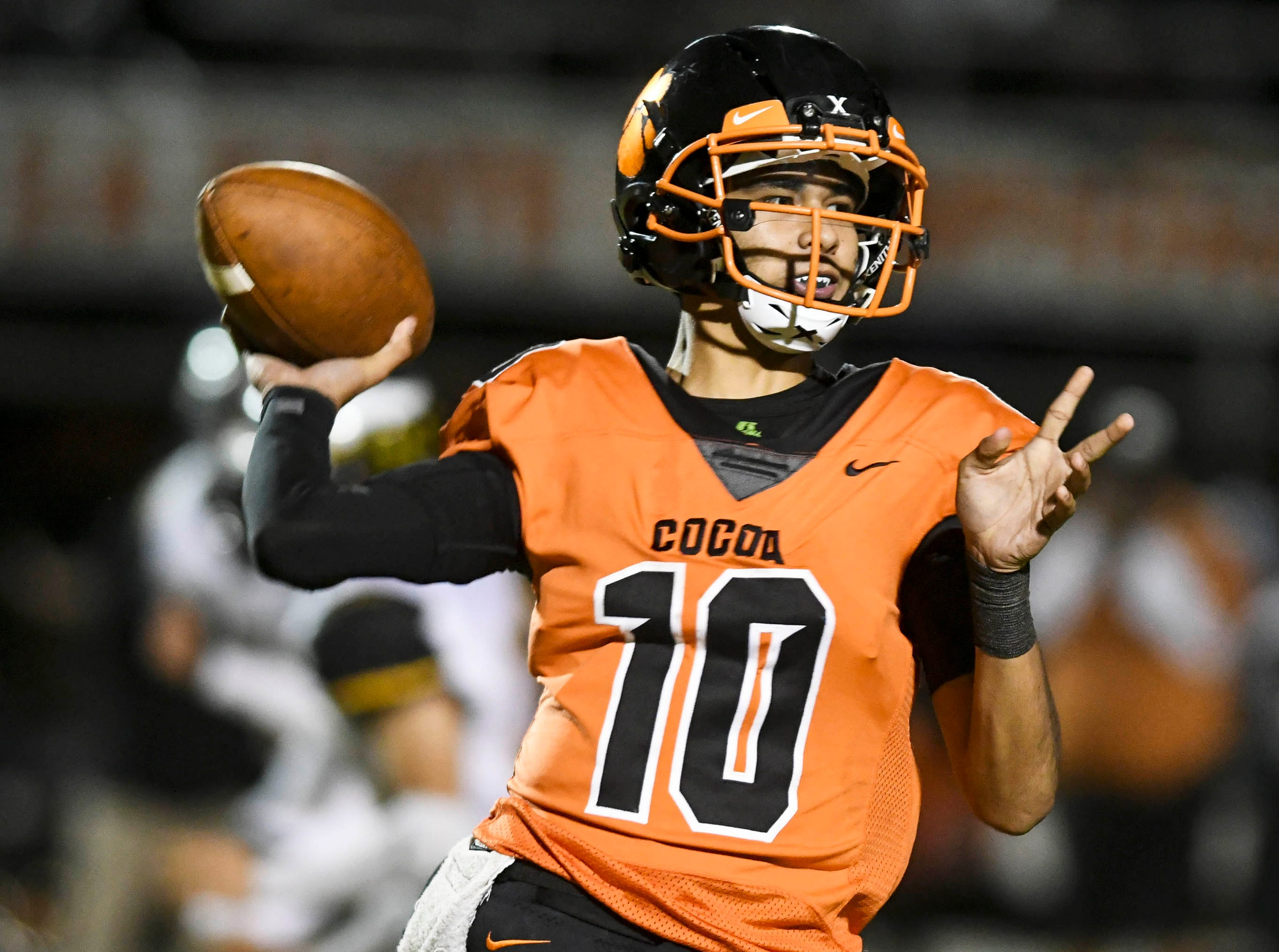 Cocoa QB Diego Arroyo passes the ball during Friday's game.