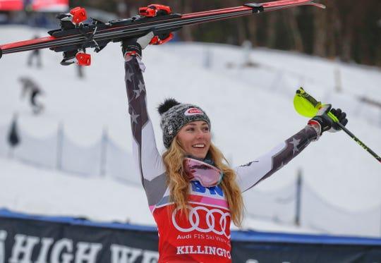 United States' Mikaela Shiffrin celebrates after winning the alpine ski, women's World Cup slalom in Killington, Vt., Sunday, Nov. 25, 2018.