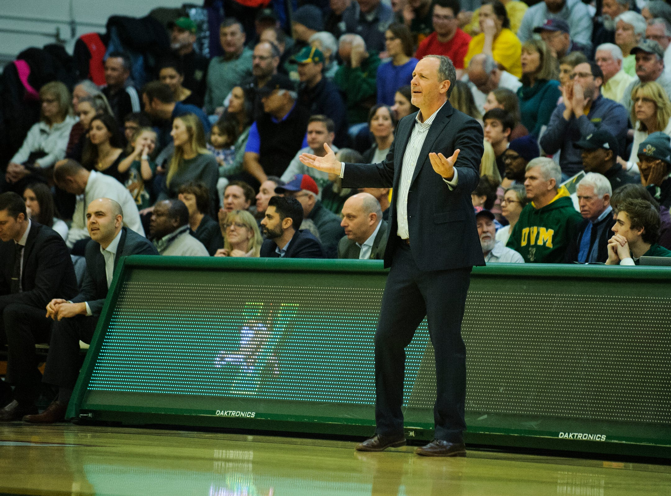 Vermont head coach John Becker questions a call on the court during the men's basketball game between the Bucknell Bison and the Vermont Catamounts at Patrick Gym on Sunday afternoon November 25, 2018 in Burlington.