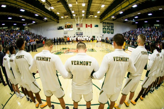 Vermont listens to the National Anthem during the men's basketball game between the Bucknell Bison and the Vermont Catamounts at Patrick Gym on Sunday afternoon November 25, 2018 in Burlington.