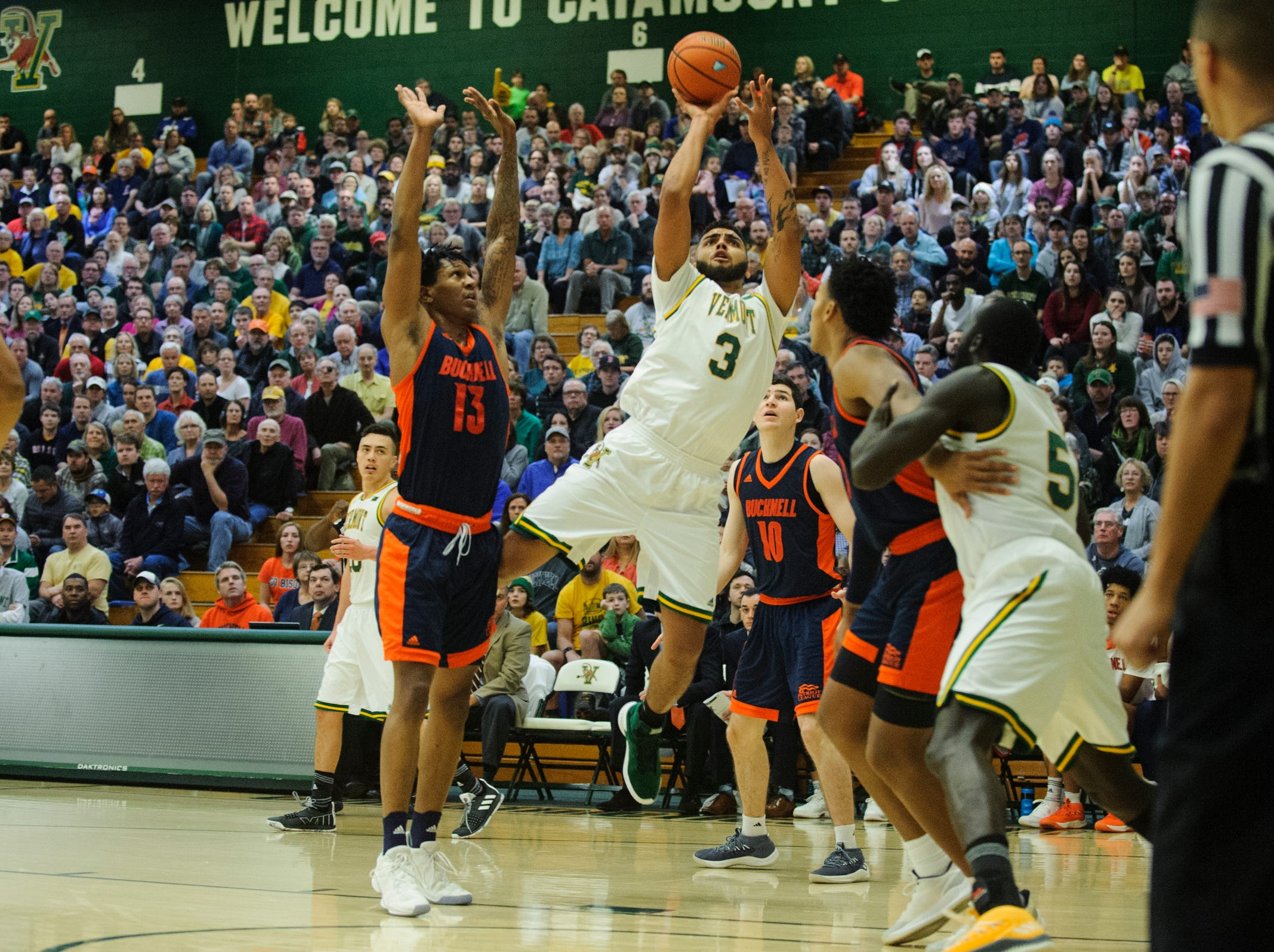 Vermont forward Anthony Lamb (3) takes a shot during the men's basketball game between the Bucknell Bison and the Vermont Catamounts at Patrick Gym on Sunday afternoon November 25, 2018 in Burlington.