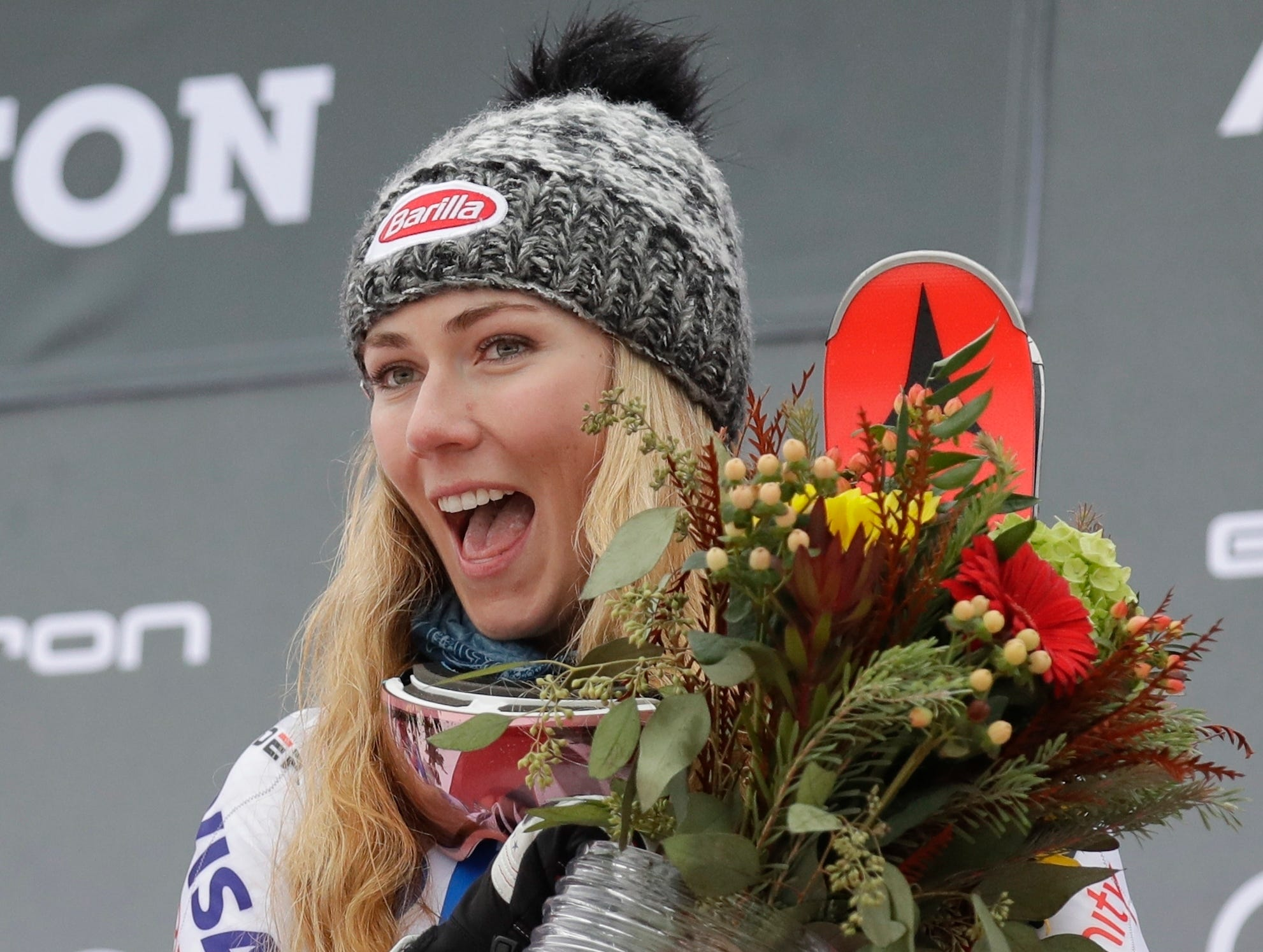United States' Mikaela Shiffrin celebrates on the podiumafter winning the alpine ski, women's World Cup slalom in Killington, Vt., Sunday, Nov. 25, 2018.