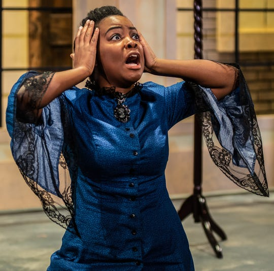 """Ernaisja Curry plays a duplicitous heroine named Isabelle Fontaine-Kite in playwright Reina Hardy's """"Susan Swayne and the Bewildered Bride,"""" which runs through Dec. 16 at the Know Theatre of Cincinnati."""