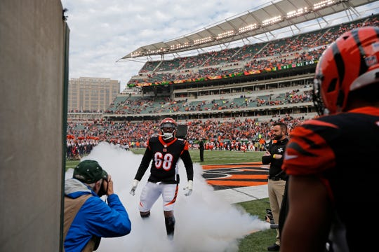Cincinnati Bengals offensive tackle Bobby Hart (68) takes the field as he's introduced before the first quarter of the NFL Week 12 game between the Cincinnati Bengals and the Cleveland Browns at Paul Brown Stadium in downtown Cincinnati on Sunday, Nov. 25, 2018.