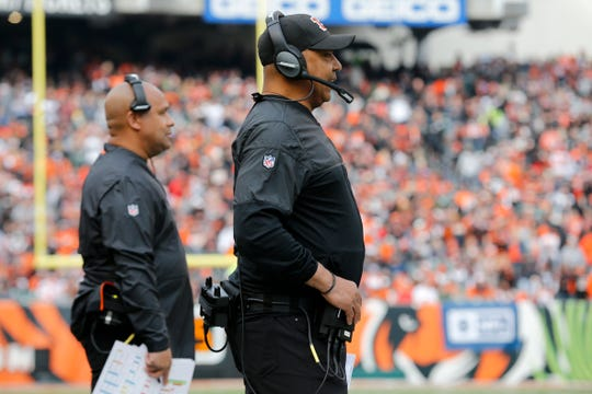 Cincinnati Bengals head coach Marvin Lewis and assistant to the head coach Hue Jackson watch from the sideline in the second quarter of the NFL Week 12 game between the Cincinnati Bengals and the Cleveland Browns at Paul Brown Stadium in downtown Cincinnati on Sunday, Nov. 25, 2018.