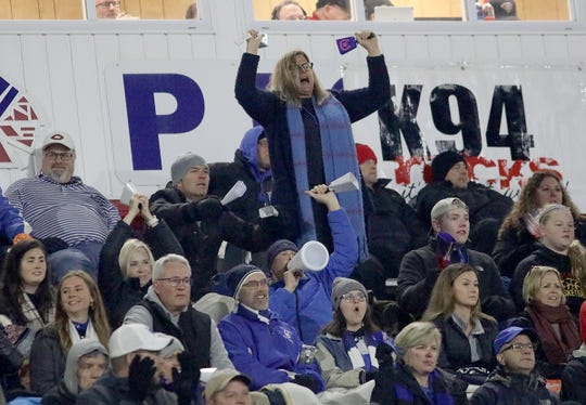 Wyoming  fans cheer on the Cowboys during their state semifinal game against St. Marys Saturday, Nov. 24, 2018.