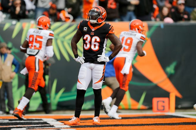 Cincinnati Bengals strong safety Shawn Williams (36) stands with his hands on his hips after the Cleveland Browns score a touchdown in the second quarter of the NFL Week 12 game between the Cincinnati Bengals and the Cleveland Browns at Paul Brown Stadium in downtown Cincinnati on Sunday, Nov. 25, 2018.