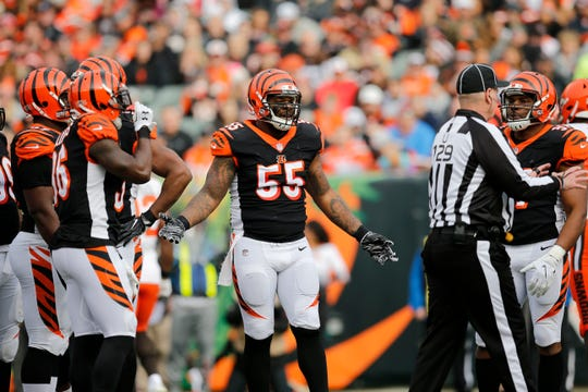 Cincinnati Bengals outside linebacker Vontaze Burfict (55) appeals to an official after a play in the second quarter of the NFL Week 12 game between the Cincinnati Bengals and the Cleveland Browns at Paul Brown Stadium in downtown Cincinnati on Sunday, Nov. 25, 2018.