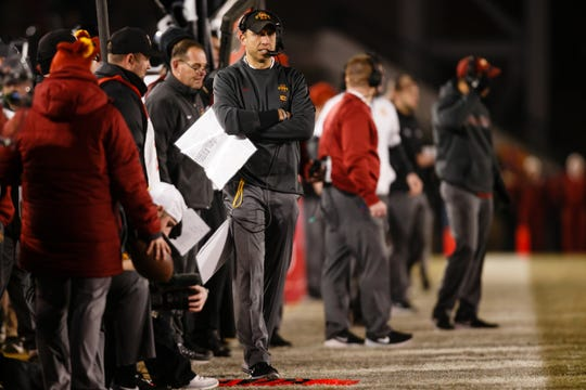 Iowa State head coach Matt Campbell watches his team play during their football game at Jack Trice Stadium on Saturday, Nov. 24, 2018, in Ames. Kansas State takes a 21-14 lead into halftime.