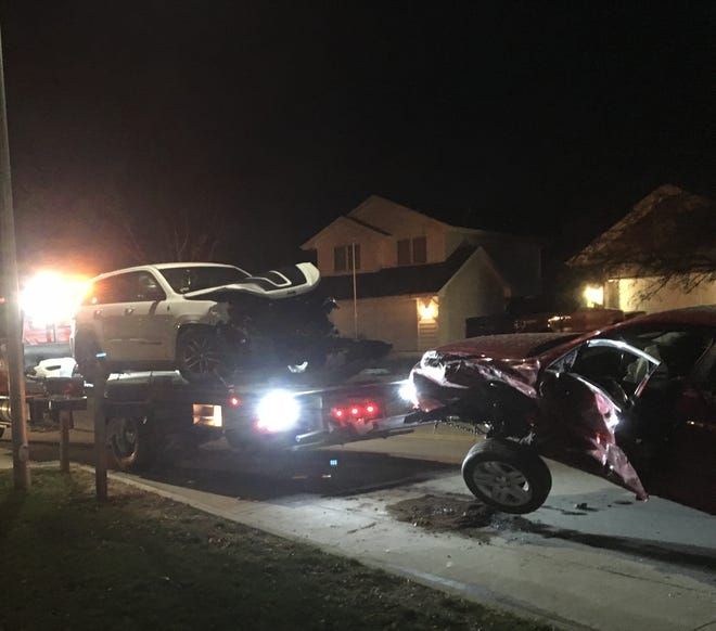 The driver of a red Chevy Impala was taken to a hospital for injuries sustained in a two-car crash in West Des Moines Saturday evening.
