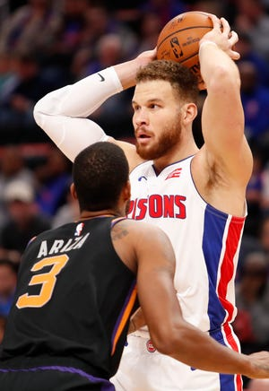Pistons forward Blake Griffin scored 16 points and added 11 assists against Trevor Ariza and the Phoenix Suns on Sunday afternoon at Little Caesars Arena.
