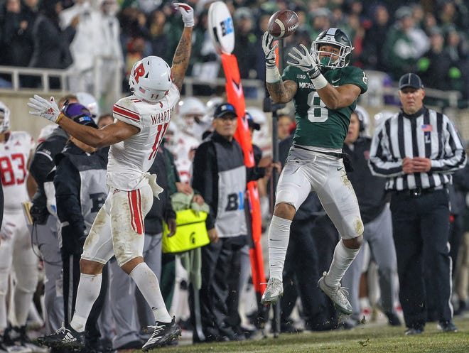 MSU has high hopes for his trio of sophomore receivers, Jalen Nailor (pictured), Jayden Reed and Tre Mosley.