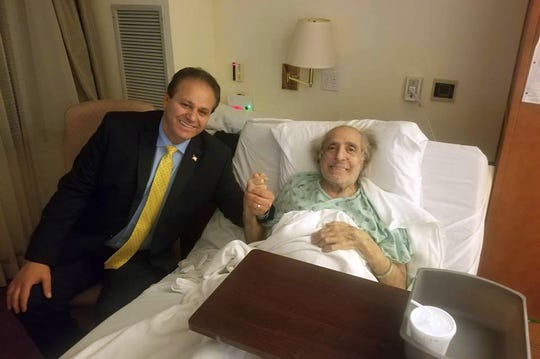 Realtor Sam Beydoun (left) visiting with Don Unis on Nov. 4, 2018. Unis, an Arab American activist had been struggling with a deteriorating heart condition weeks before he died at the Henry Ford Village Rehabilitation facility on Nov. 24, 2018.