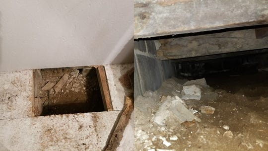 The trap door and hole in the floor of a Van Buren County home where deputies located a wanted fugitive Saturday night.