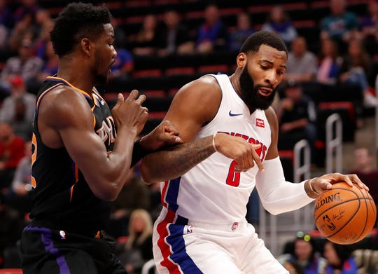 Pistons center Andre Drummond scored 18 points against the Phoenix Suns on Sunday despite making just one of eight free throw attempts.