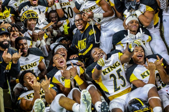 Detroit King poses for a team photo after winning the Division 3 football state title at Ford Field on Saturday, Nov. 24, 2018.