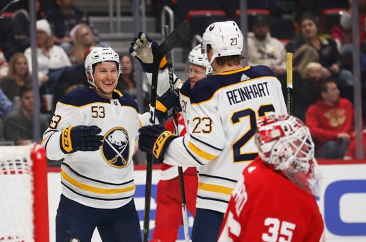 Jeff Skinner Jimmy Howard Kyle Okposo Sam Reinhart