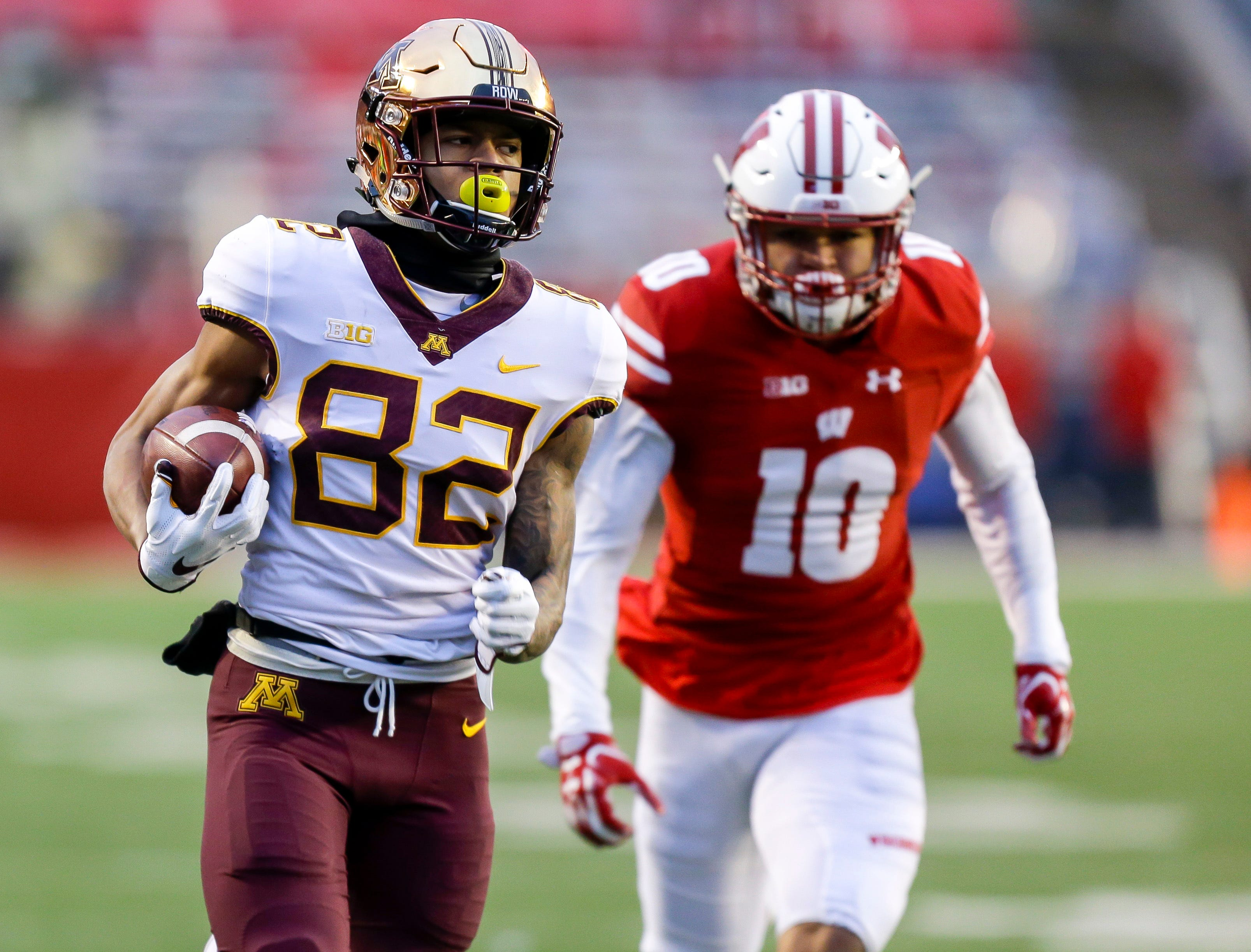 9. Minnesota (6-6, 3-6) – Credit the Golden Gophers for getting an unexpected victory at Wisconsin in the final week to become bowl-eligible for the first time under coach P.J. Fleck, but also point to the easy non-conference schedule that got the Gophers three quick wins before they struggled to find much rhythm in Big Ten play. That said, they've got another game to play. Last week: 12.