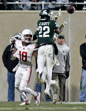 Michigan State's Josiah Scott picked off two Rutgers passes in Saturday's win.