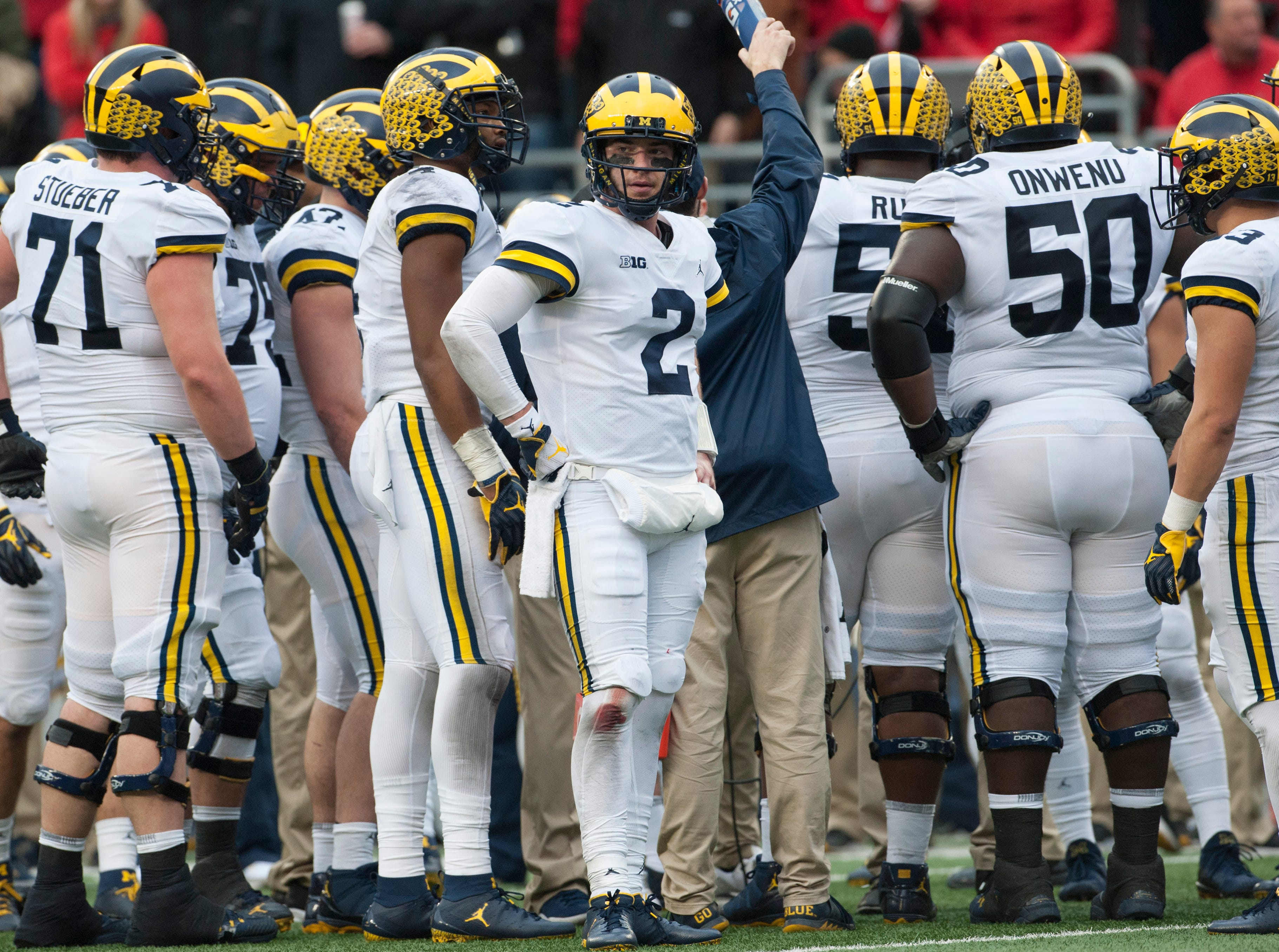 2. Michigan (10-2, 8-1) – It all came crashing down in the most unexpected way for the Wolverines as their defense was dismantled by Ohio State. It ended Michigan's 10-game winning streak, dashed its playoff hopes and left the Wolverines still seeking a Big Ten title that has eluded them since 2004. A potential spot in the Rose Bowl will be of little consolation as coach Jim Harbaugh is now 0-4 vs. the Buckeyes. Last week: 1.