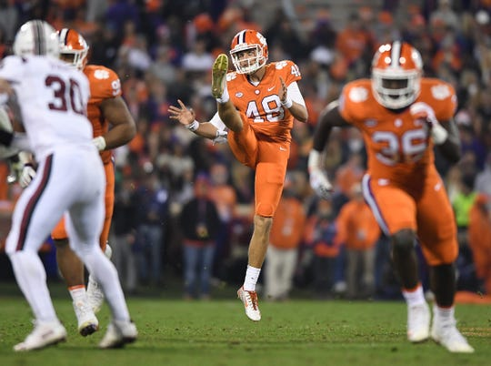 Clemson punter Will Spiers (48) punts against South Carolina during the 2nd quarter Saturday, November 24, 2018 at Clemson's Memorial Stadium.