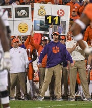Clemson Defensive Coordinator Brent Venables during the fourth quarter in Memorial Stadium on Saturday, November 24, 2018.