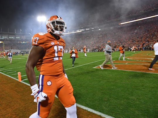 Clemson wide receiver Cornell Powell (17) during pregame Saturday, November 24, 2018 at Clemson's Memorial Stadium.