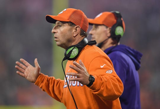 Clemson head coach Dabo Swinney during the 3rd quarter Saturday, November 24, 2018 at Clemson's Memorial Stadium.