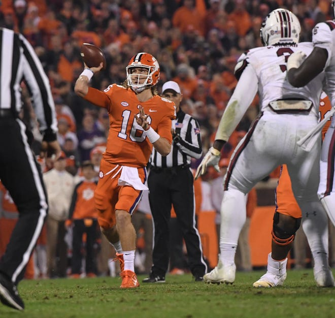 Clemson quarterback Trevor Lawrence (16) throws during the second quarter in Memorial Stadium on Saturday, November 24, 2018.