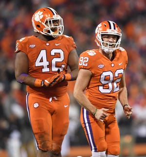 Clemson place kicker Greg Huegel (92) reacts after missing a field goal against South Carolina during the 2nd quarter Saturday, November 24, 2018 at Clemson's Memorial Stadium.