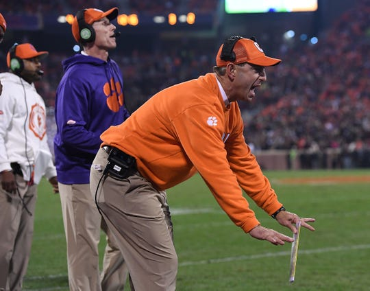 Clemson head coach Dabo Swinney coaches against South Carolina during the 1st quarter Saturday, November 24, 2018 at Clemson's Memorial Stadium.