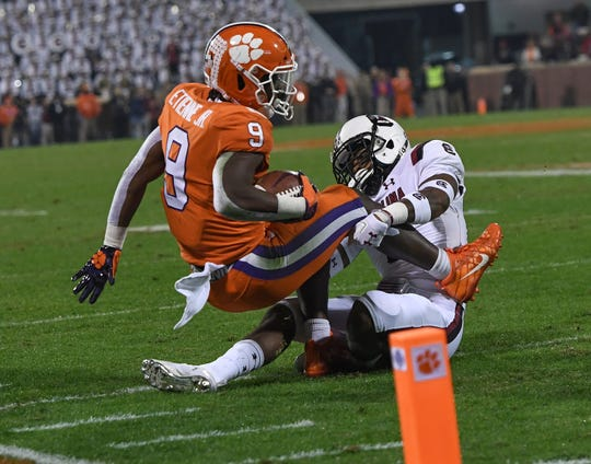 South Carolina cornerback Keisean Nixon (9) stops Clemson running back Travis Etienne (9) short of the goal line during the 1st quarter Saturday, November 24, 2018 at Clemson's Memorial Stadium.