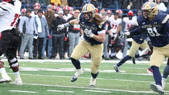Montana State linebacker Grant Collins breaks on the ball carrier in an FCS playoff game against Incarnate Word Saturday in Bozeman. The Bobcats won 35-14.