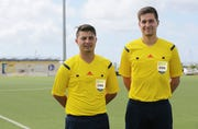Shawn Spindel, left and Kyle Legozzie , FIFA referees from Guam, may get a chance to officiate a top-level game during the EAFF E-1 Football Championship Women's Competition starting Dec. 1