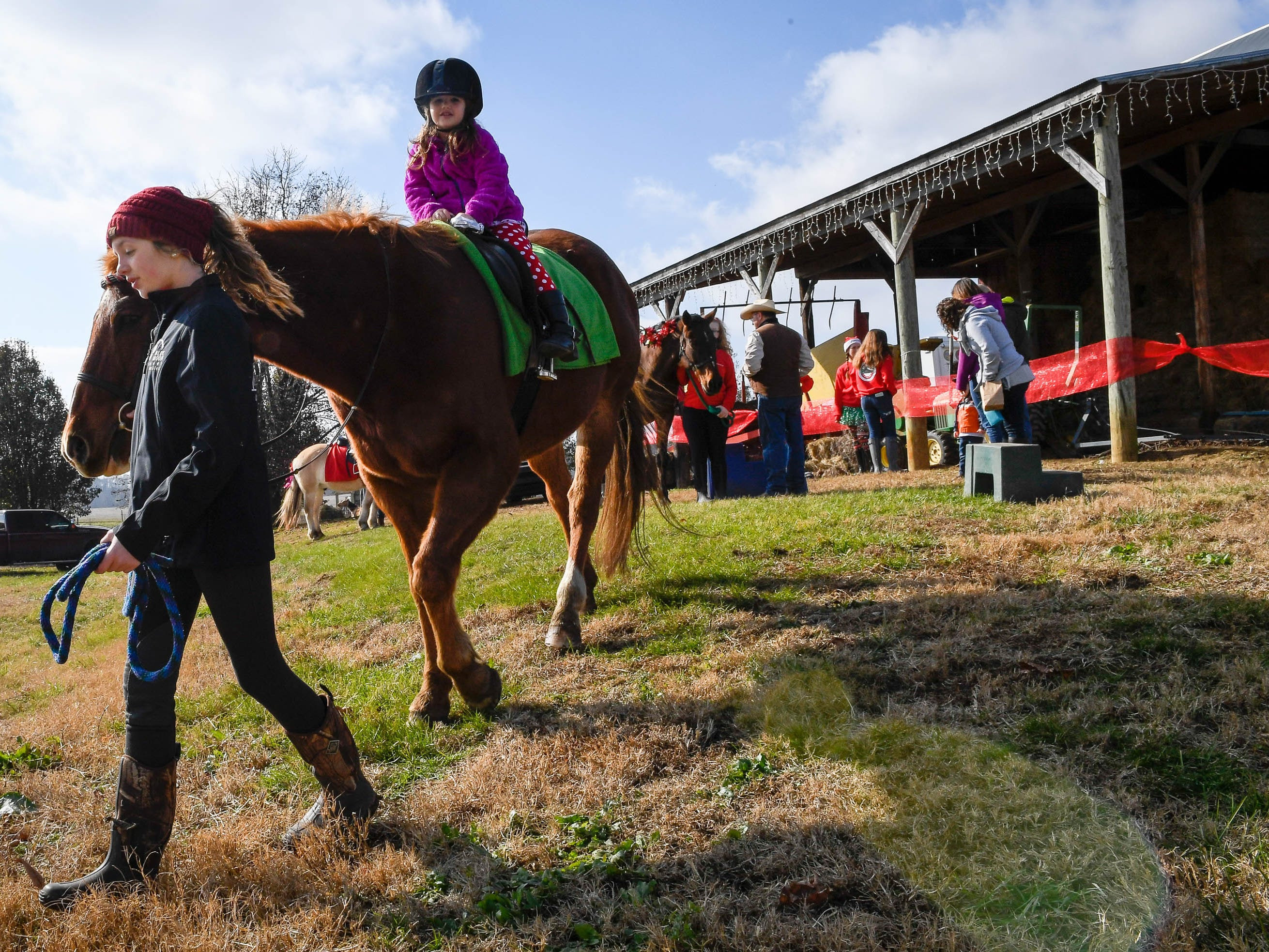 Lexie Clements leads Judge the horse as they take Jullian Pace, five years-old, for a ride at the Christmas on the farm fund raising event for the Healing Reins Therapeutic Riding program Saturday. The family friendly event features pony rides, hay rides, vendor mall and barbecue, November 24, 2018.