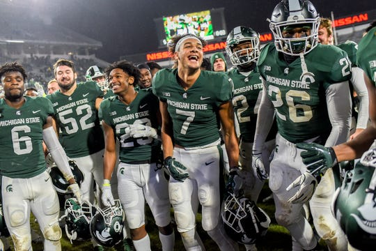 The Michigan State Spartans celebrate after defeating Rutgers on Saturday, Nov. 24, 2018, at Spartan Stadium in East Lansing.