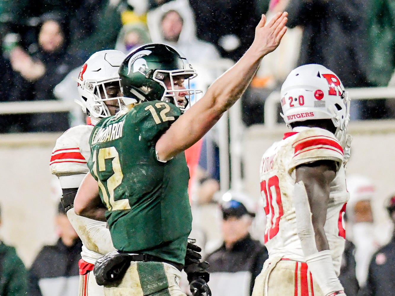 Michigan State quarterback Rocky Lombardi signals for a first down after a run during the fourth quarter on Saturday, Nov. 24, 2018, at Spartan Stadium in East Lansing.