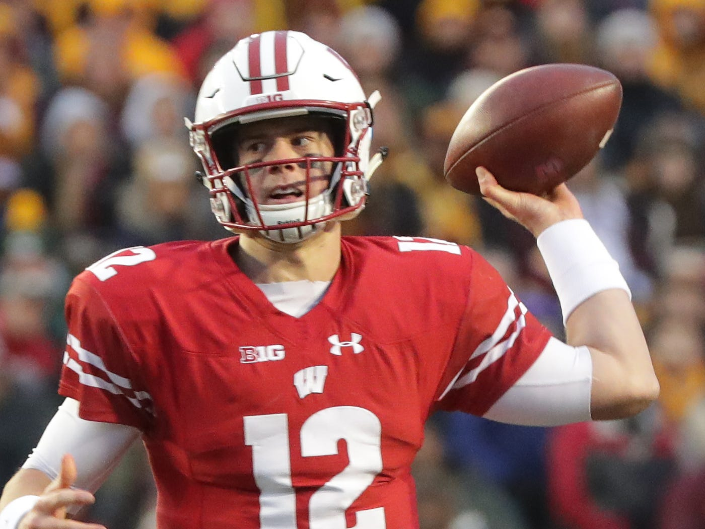 Wisconsin quarterback Alex Hornibrook gets ready to unleash a pass against Minnesota on Saturday. Hornibrook had a rather forgetful game with three interceptions and a lost fumble.