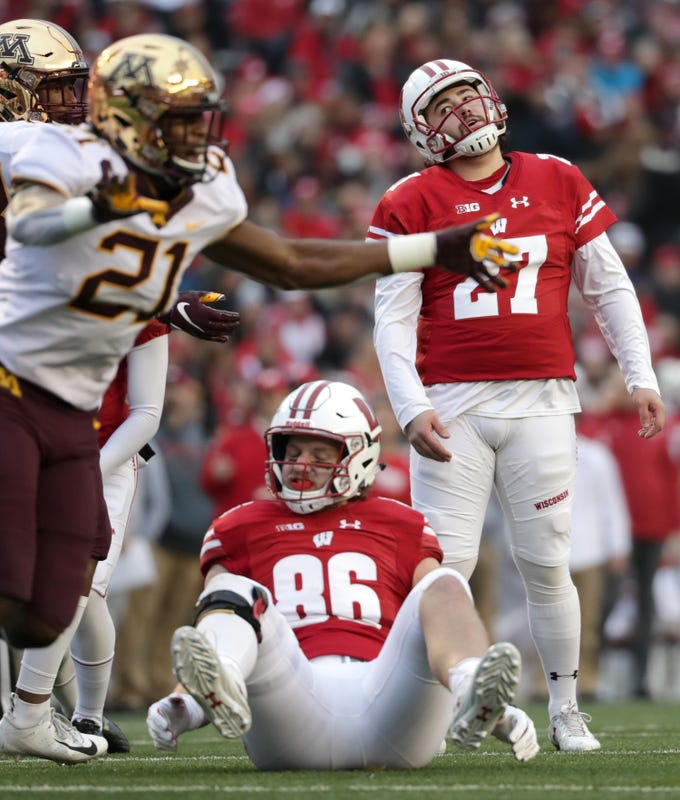 Wisconsin place kicker Rafael Gaglianone reacts after missing a first quarter field goal against Minnesota on Saturday at Camp Randall Stadium in Madison. The miss was the start of a miserable day for the Badgers.
