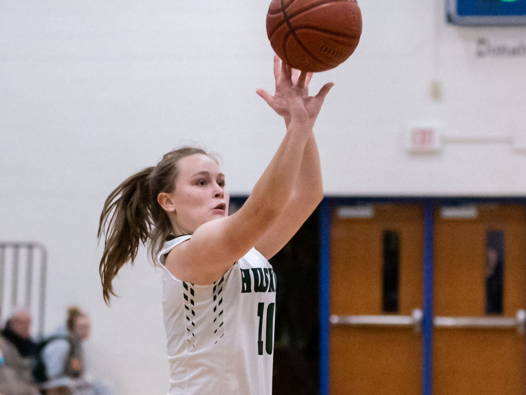 West Allis Hale junior Alyssa Madison elevates for three during the game against South Milwaukee at the Brookfield Central Thanksgiving Shootout on Saturday, Nov. 24, 2018.