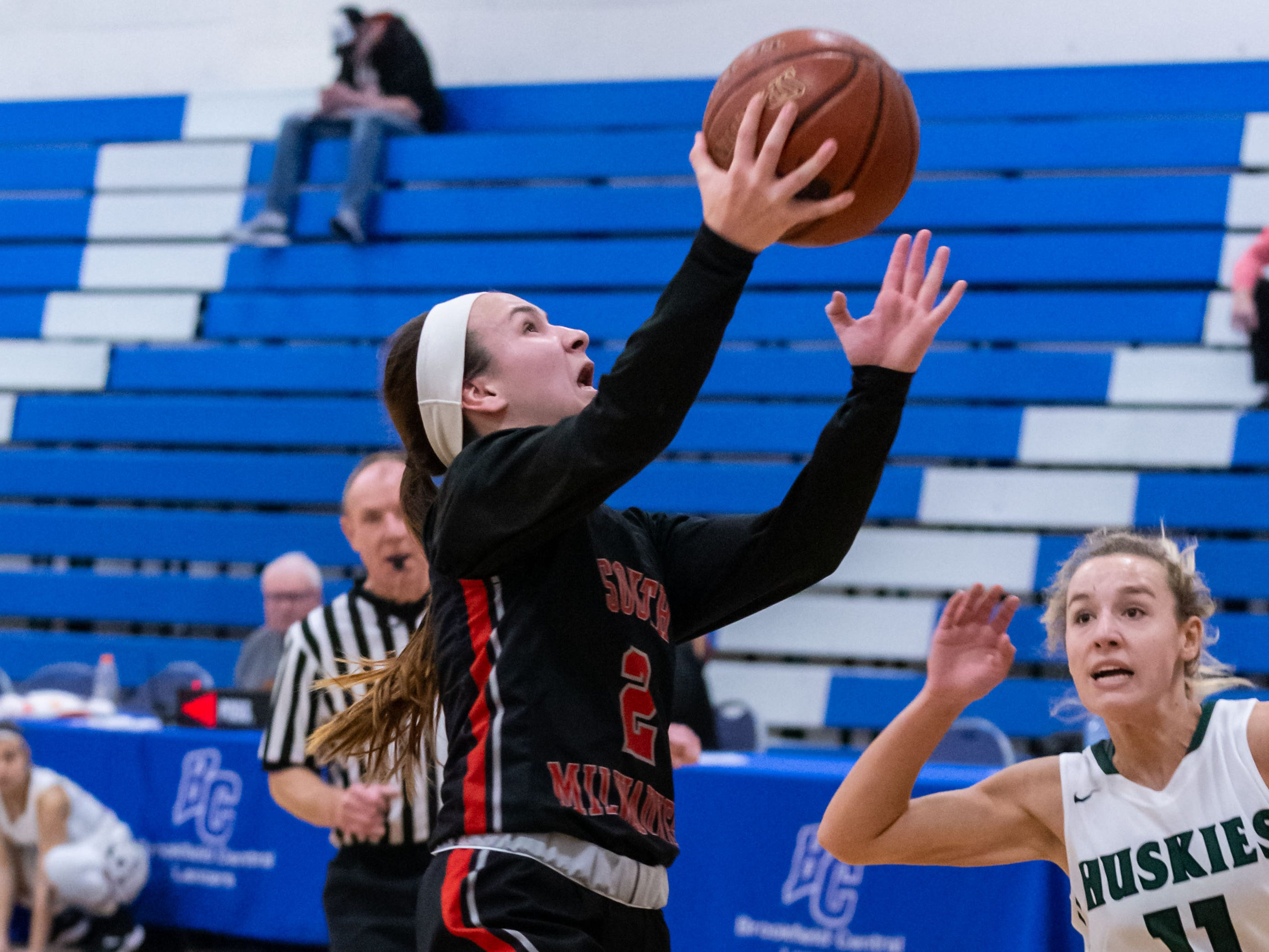 South Milwaukee senior Julia Meyers drives in for a layup during the game against West Allis Hale at the Brookfield Central Thanksgiving Shootout on Saturday, Nov. 24, 2018.