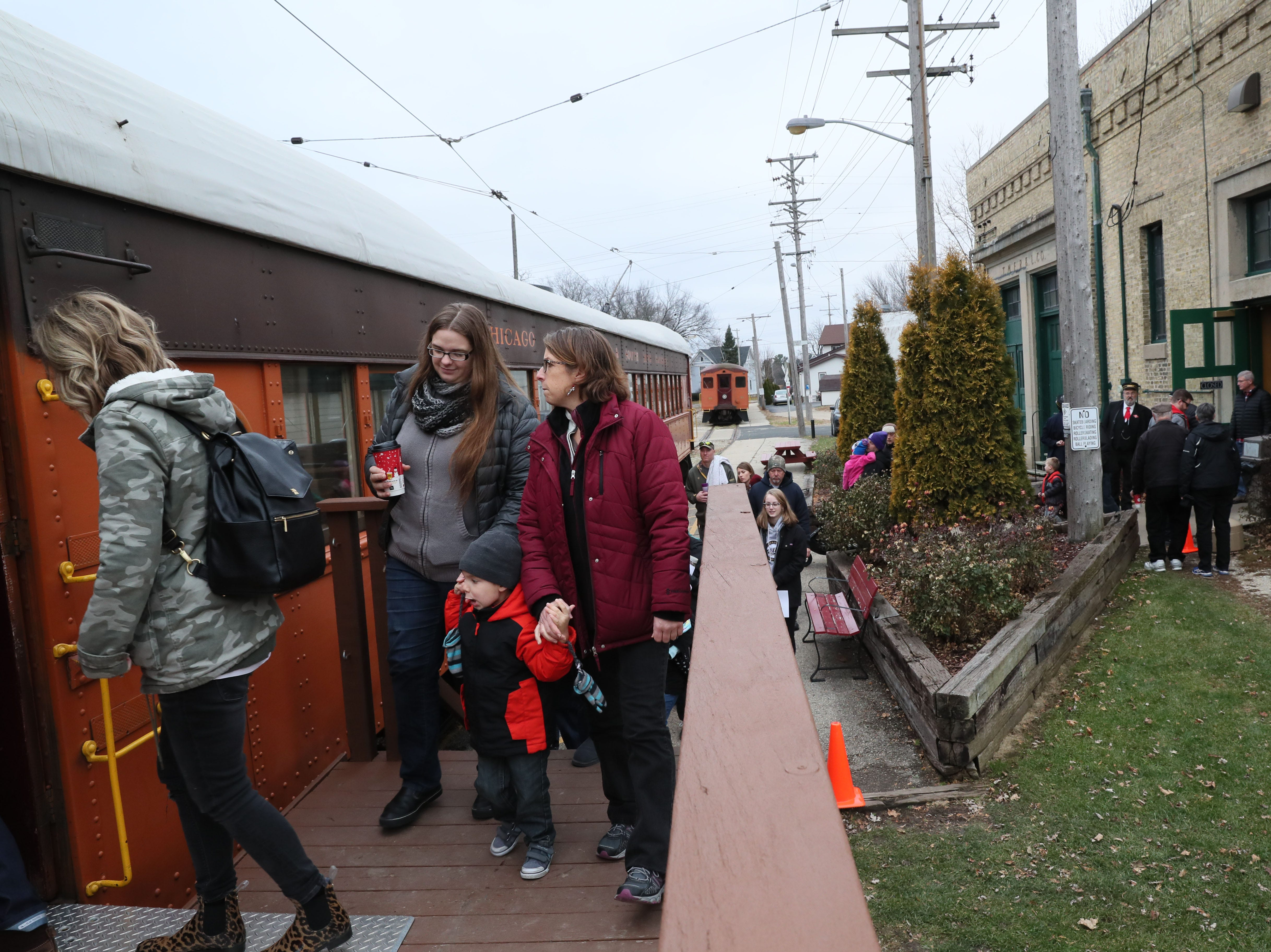 Passengers board the train at the depot in East Troy.