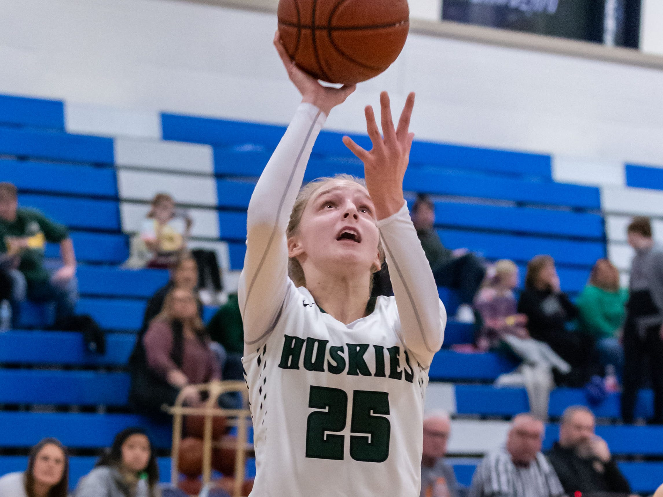 West Allis Hale senior Abi Stevens takes flight for a layup during the game against South Milwaukee at the Brookfield Central Thanksgiving Shootout on Saturday, Nov. 24, 2018.