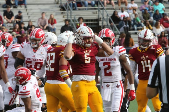 ULM head coach Matt Viator suspended Kerry Starks (5) after he allegedly spit in Grambling State tight end Kalif Jackson's face during Saturday's 31-9 win over the Tigers.